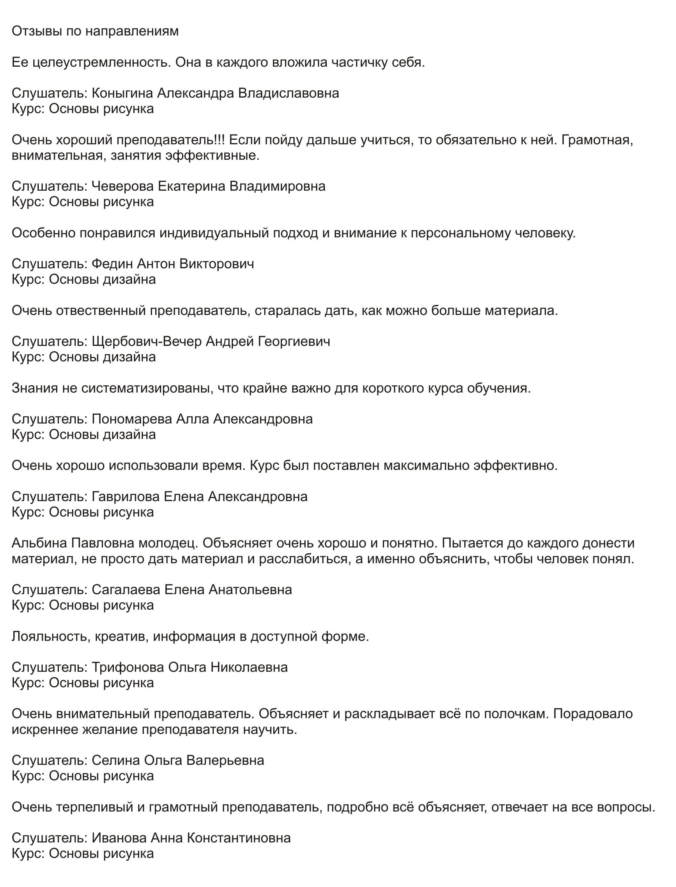 Отзывы об Альбине Павловне